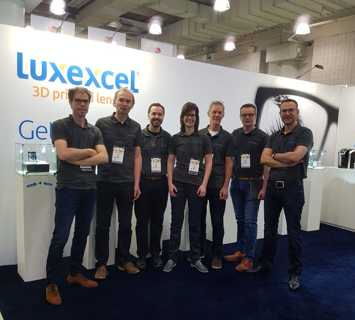 The Luxexcel team at Vision Expo, New York. Photo by Marco de Visser on twitter.