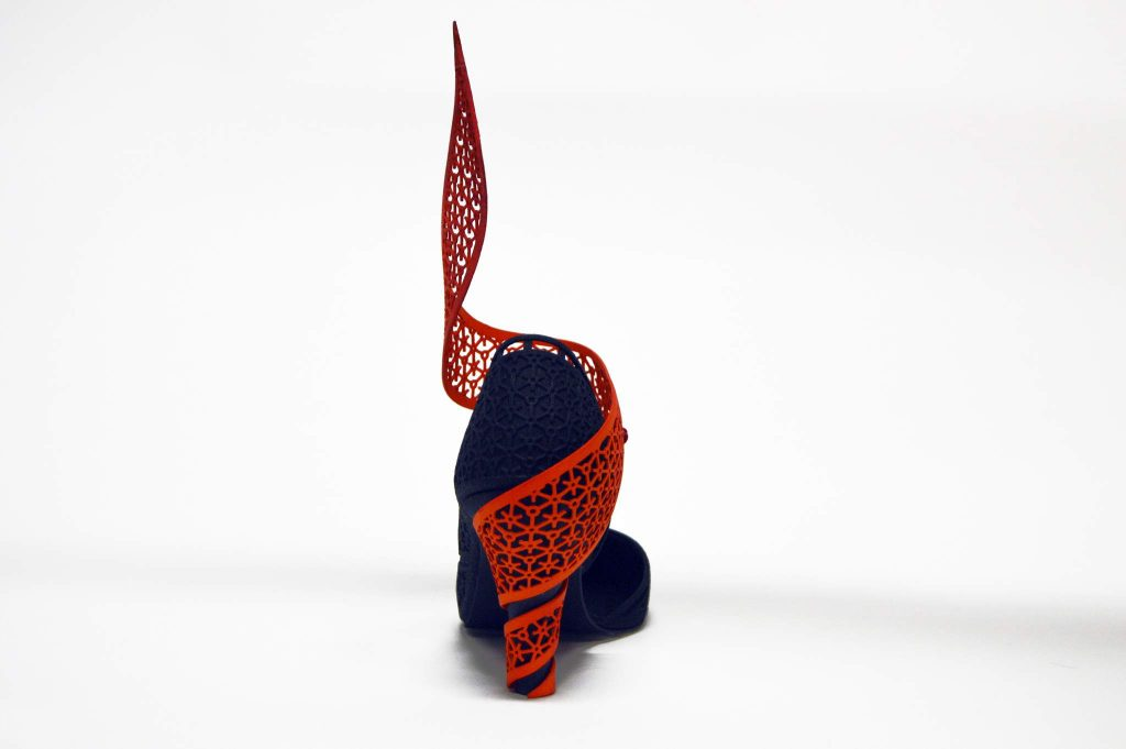 A rear view of 3D printed high-heel shoe from the Genesis project. Photo by Amadou ba Ndiaye.