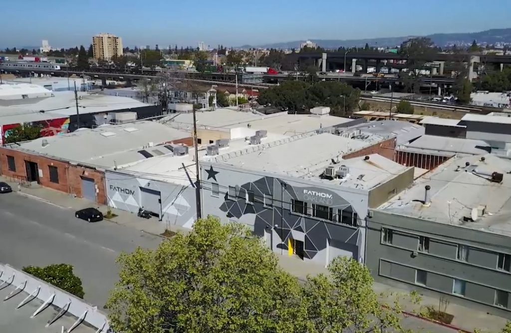An aerial Photo of FATHOM's Oakland, CA facility. Photo via FATHOM.