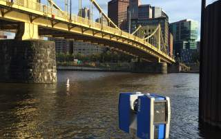 The FARO 3D Scanner capturing the Roberto Clemente Bridge. The scan will be used to create 3D printed replicas for the annual RAPID + TCT Puzzle Challenge. Photo via SME.