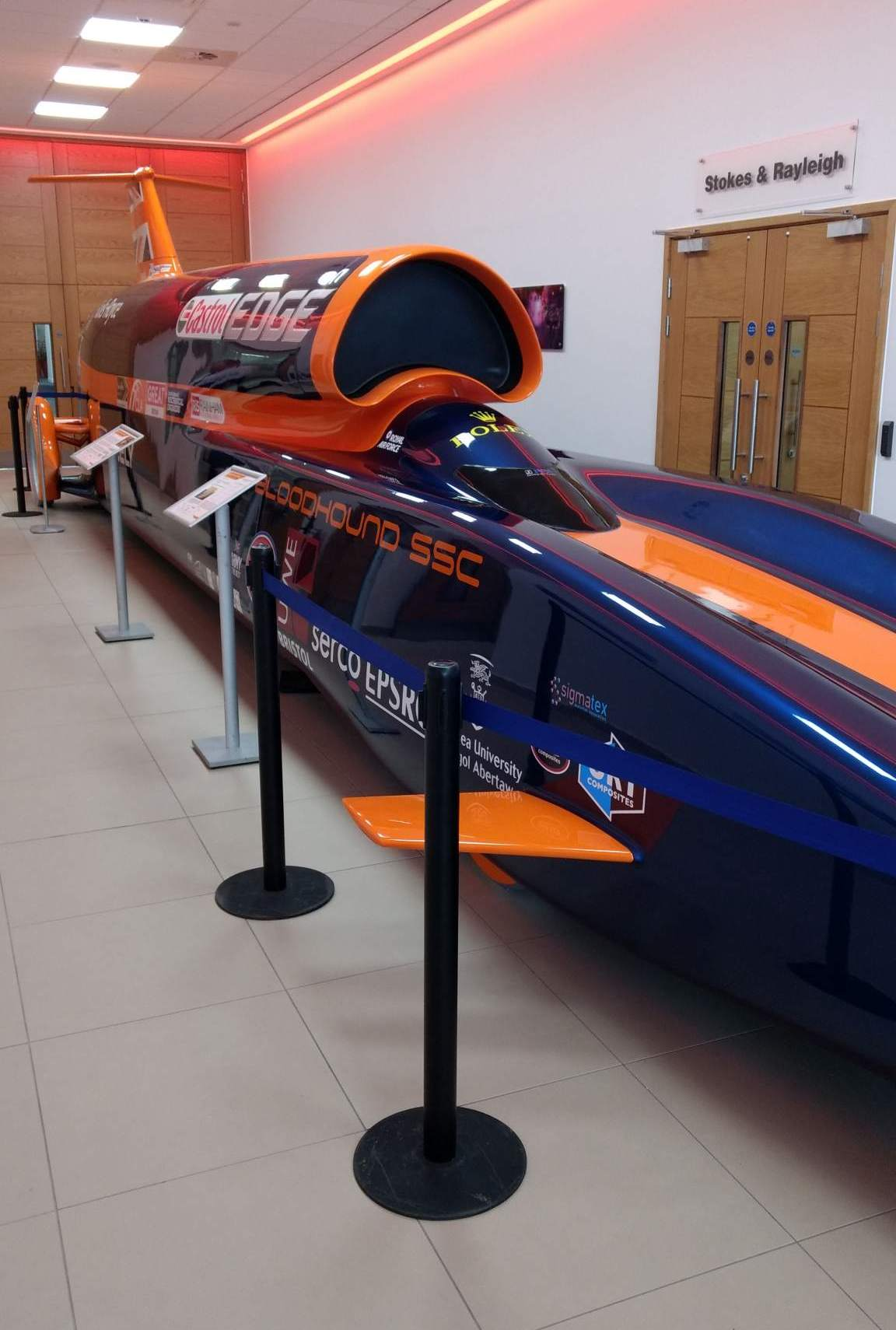 The Bloodhound SSC displayed at Renishaw Innovation Center. Photo by Corey Clarke.