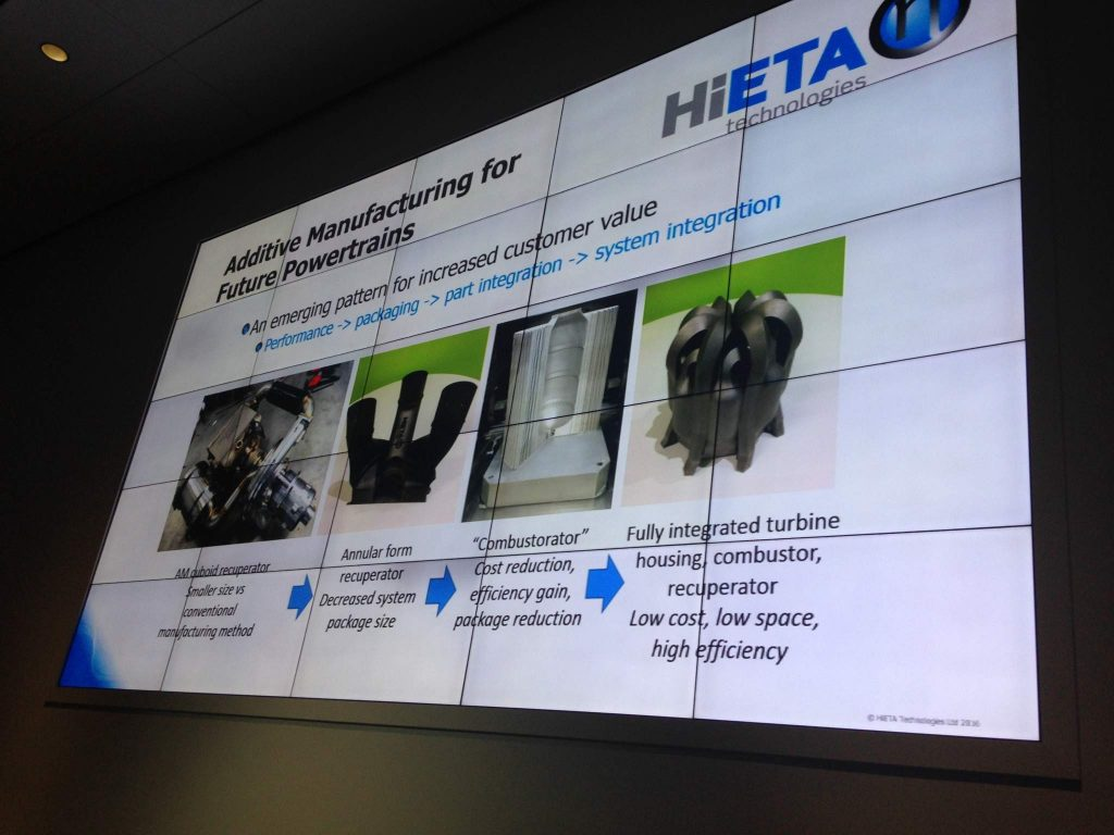 Adding value to end products with additive manufacturing. Slide from HiETA Technologies.