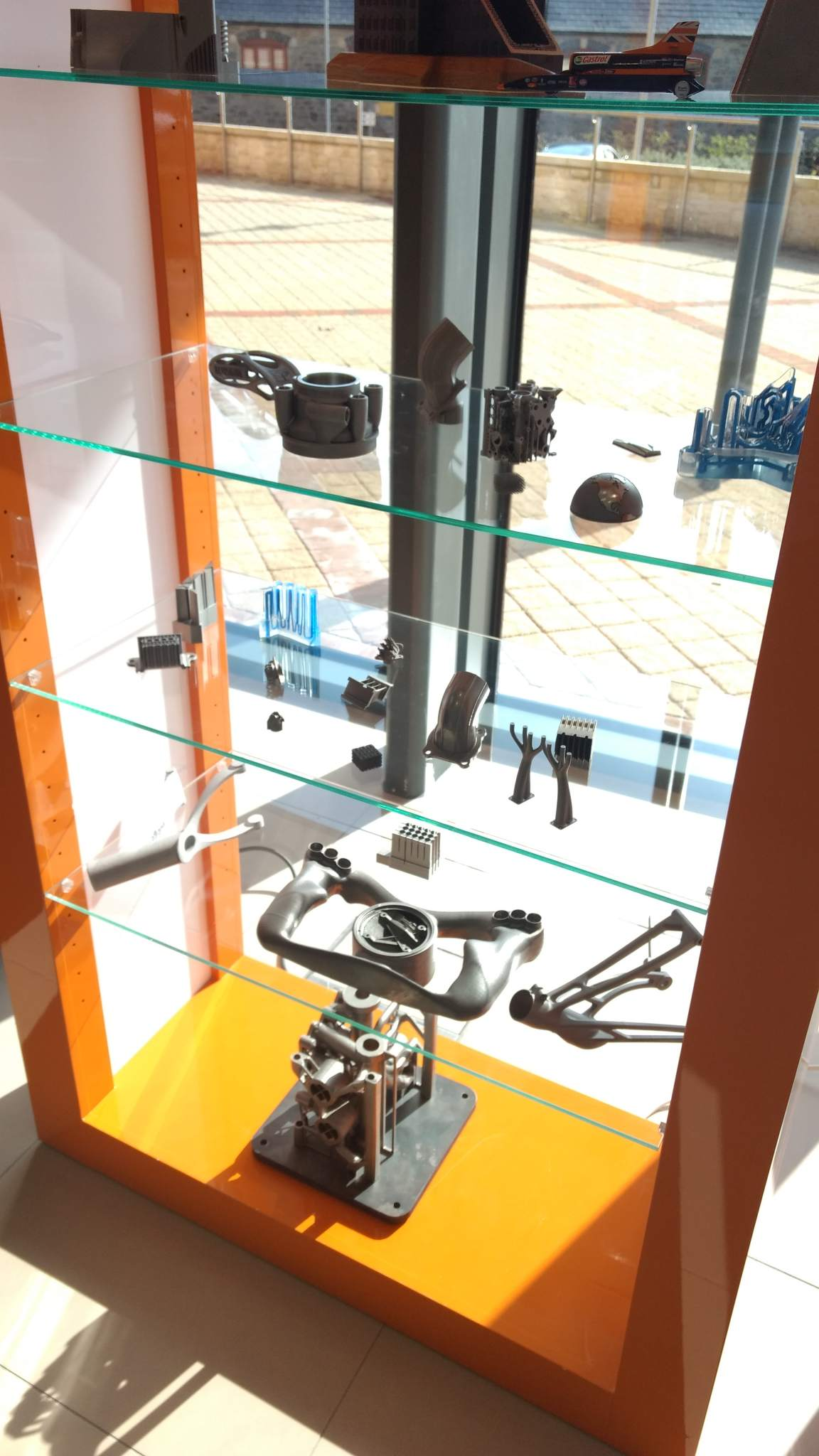 Some of the metal 3D printed parts on display at Renishaw's Innovation Centre. Photo by Corey Clarke.