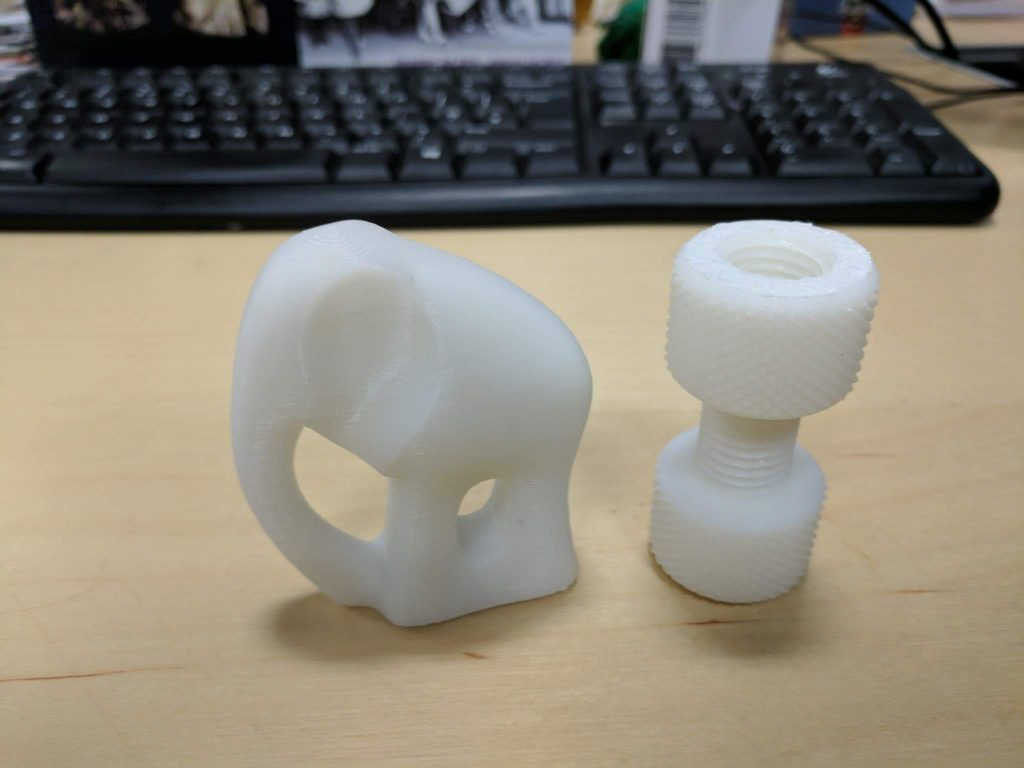 Mankati test print elephant and screw. 3D printed in ABS. Photo by Michael Petch