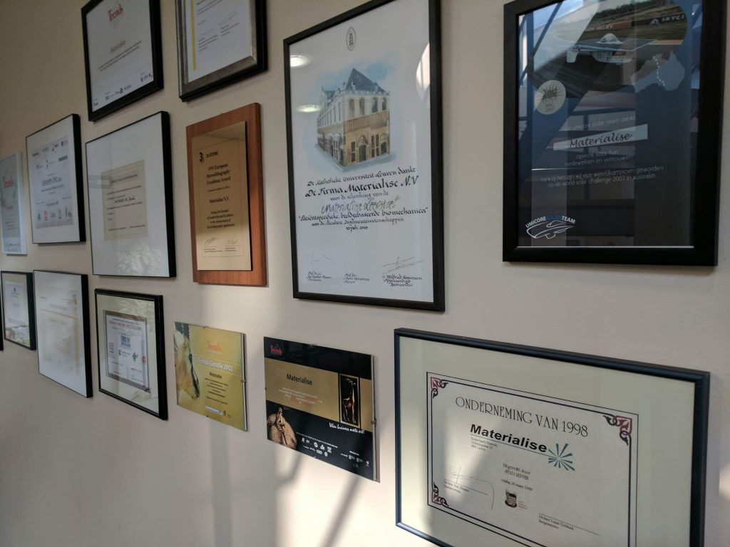Materialise HQ's wall of achievements. Photo by Michael Petch.