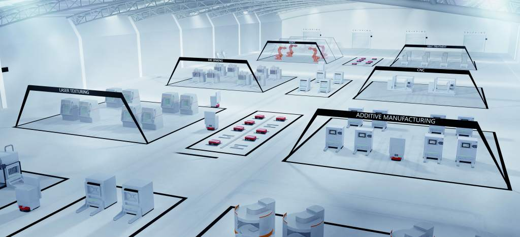 "Sketch of EOS's ""NextGenAM"" factory concept. Image via Premium AEROTEC, EOS and Daimler"