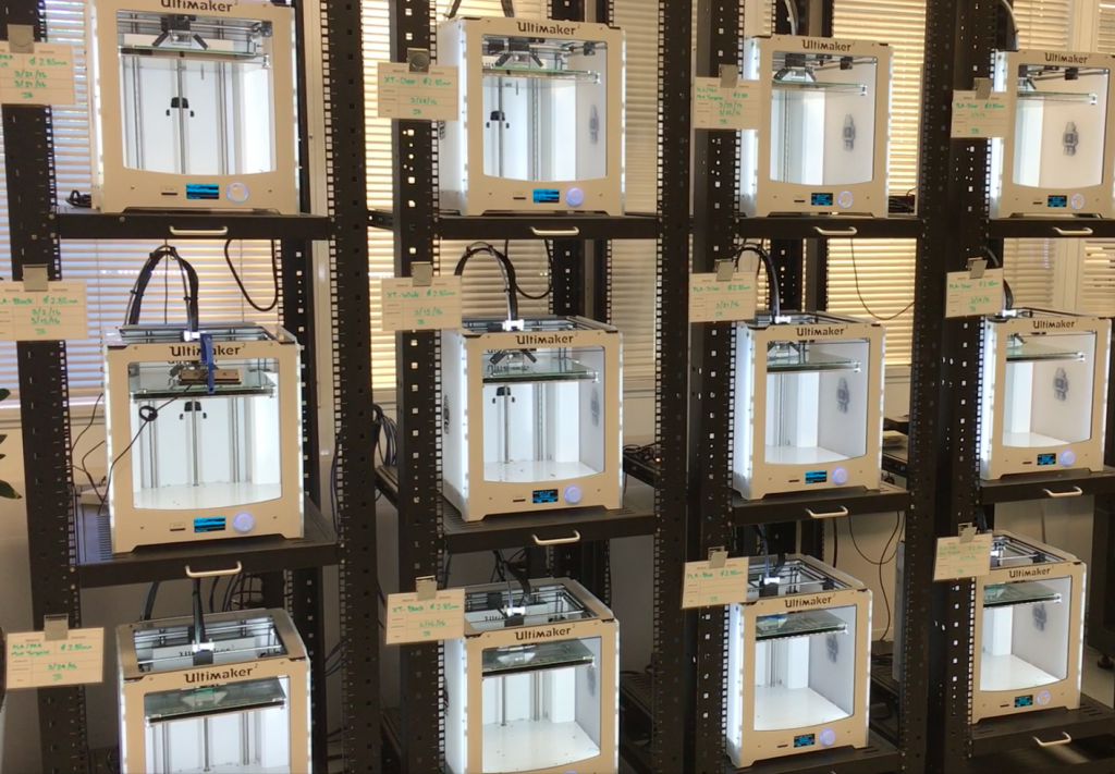 Jabil's custom-designed industrial print rack for 3D printing tooling and fixtures. Photo via Jabil.