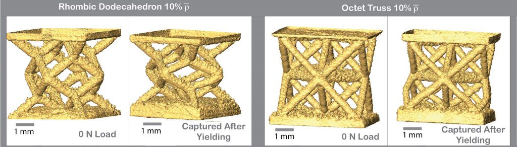 Mathematical models of 3D printed metal lattices, shown before and after yield. Image via Carltona, Linda, Messnera, Volkoff-Shoemakera, Barnardb, Bartona & Kumara.