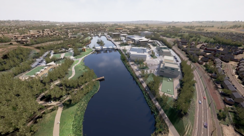"""Digital representation of the proposed """"Life Science and Well-being Village"""" in Swansea. Image via External Funding Team on YouTube"""