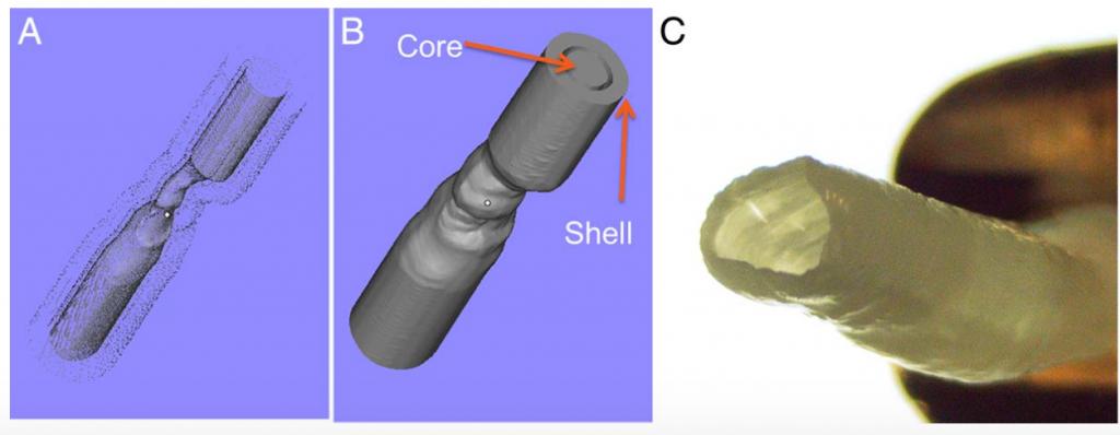 Digital model (left) and the hydrogel model of a ICAD artery. Figure via Chueh, Ju-Yu, et al.