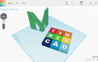 3D models of MyMiniFactory and Tinkercad logos in Tinkercad's build area. MMF 3D Logo by Michael Daniel Miller and Tinkercad by dikraa12.