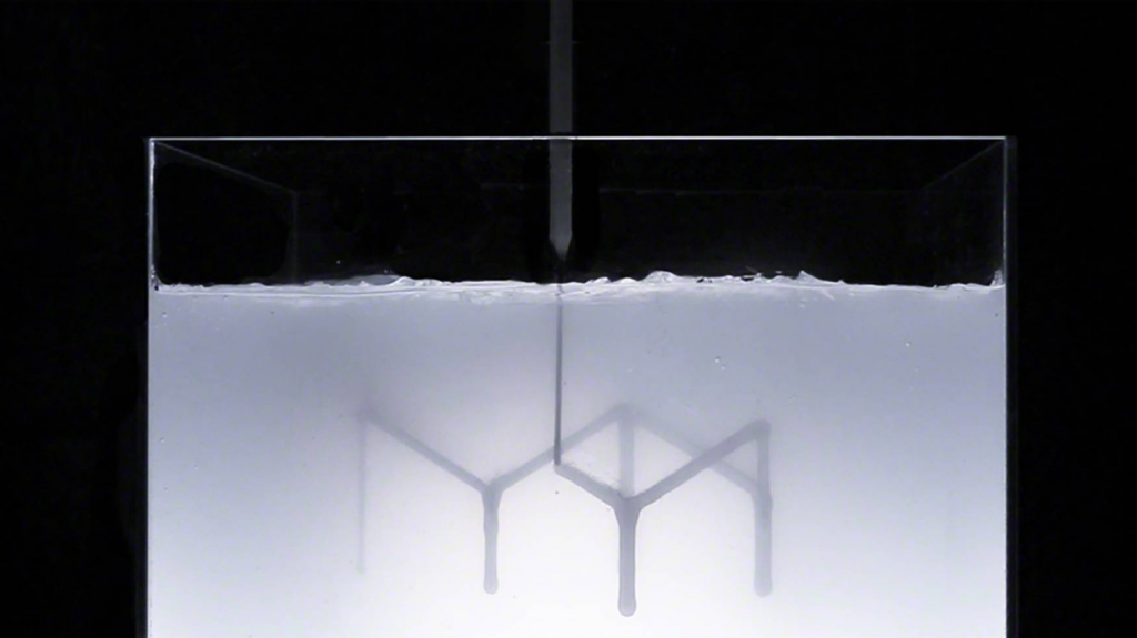 Rapid liquid printing in process. Photo via Steelcase/MIT