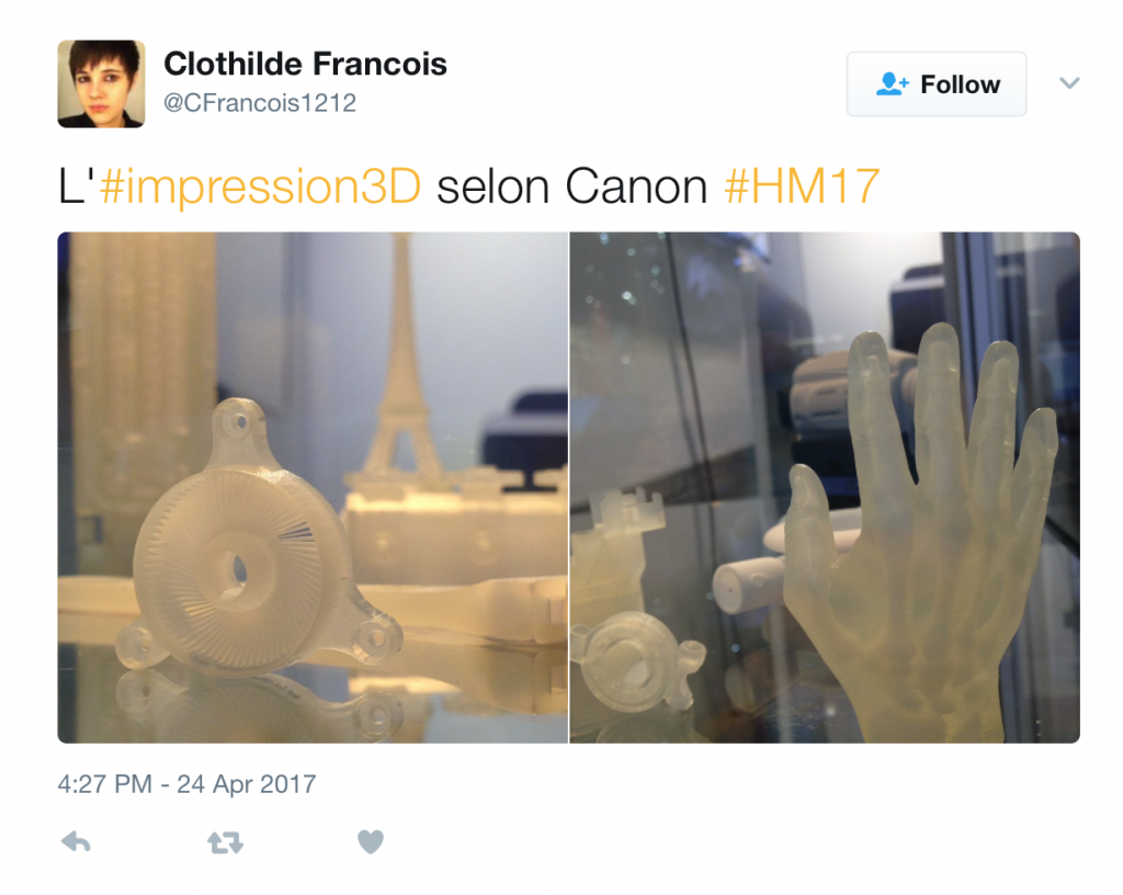 3D printed objects exhibited by Canon at Hannover Messe. Photo by Clothilde Francois‏, @CFrancois1212 on Twitter