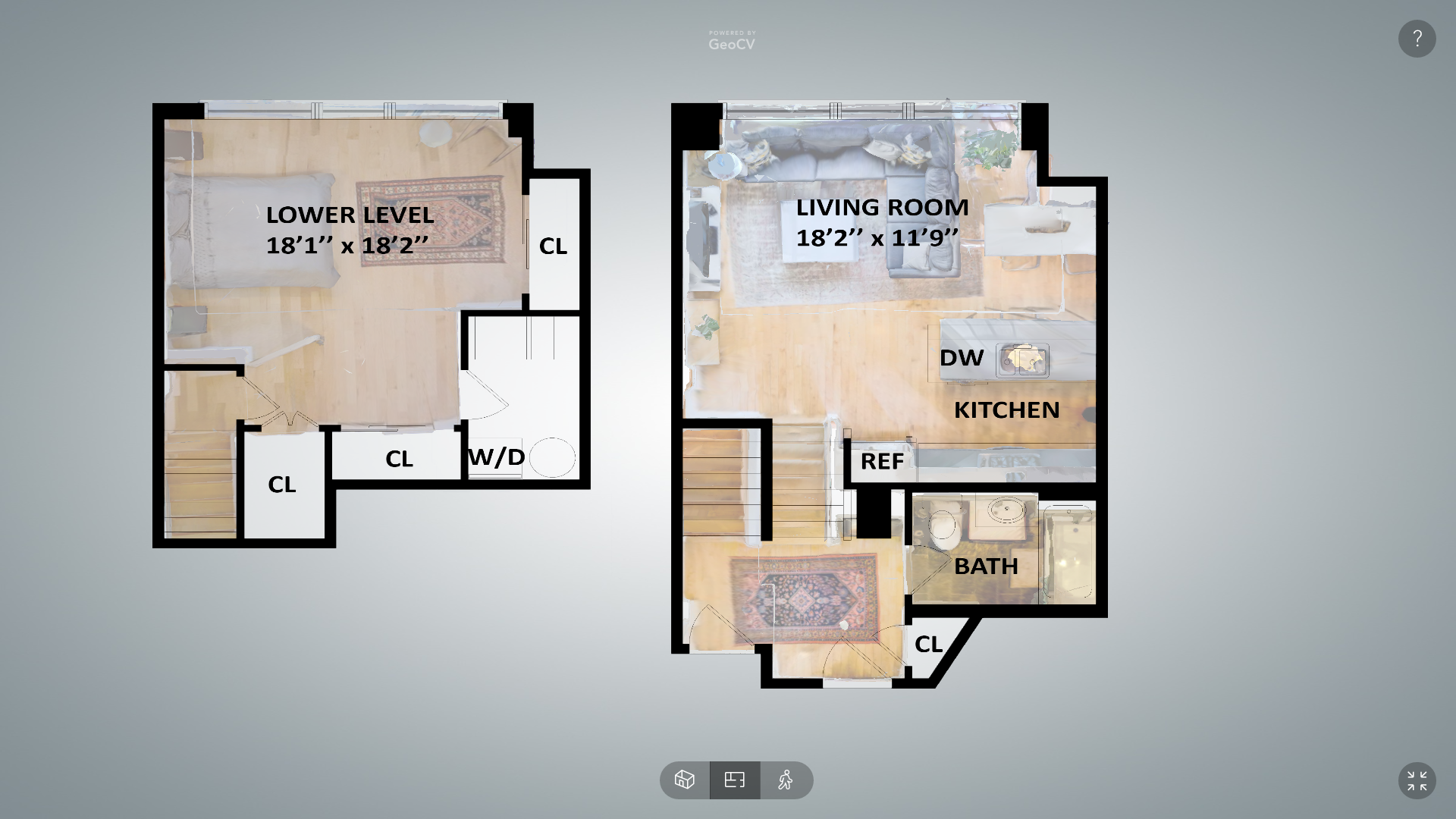 The software allows users to view a floorplan of a property. Image via GeoCV.