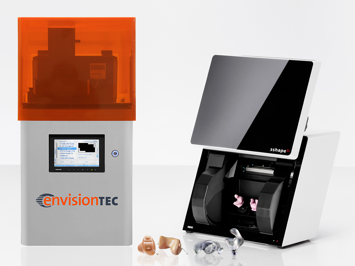 The EnvisionTEC Vida 3D printer and 3Shape scanner. Image via EnvisionTEC.
