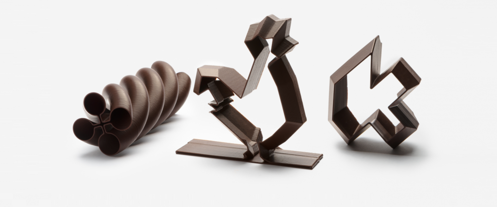 Miam Factory 3D printed chocolate creations. Photo via La Miam Factory