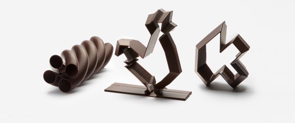Miam Factory 3D printed chocolate creations. Photo via La Miam Factory