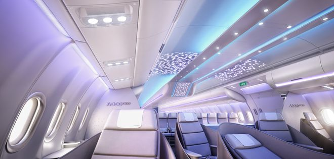 The new interior for the A330neo that will make use of the 3D printed air nozzle. Image via Airbus.