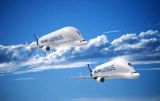 The Beluga XL and the Beluga ST. Image via Airbus.