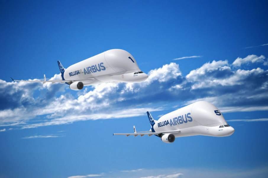 The Beluga XL and the Beluga ST. Image via Airbus.