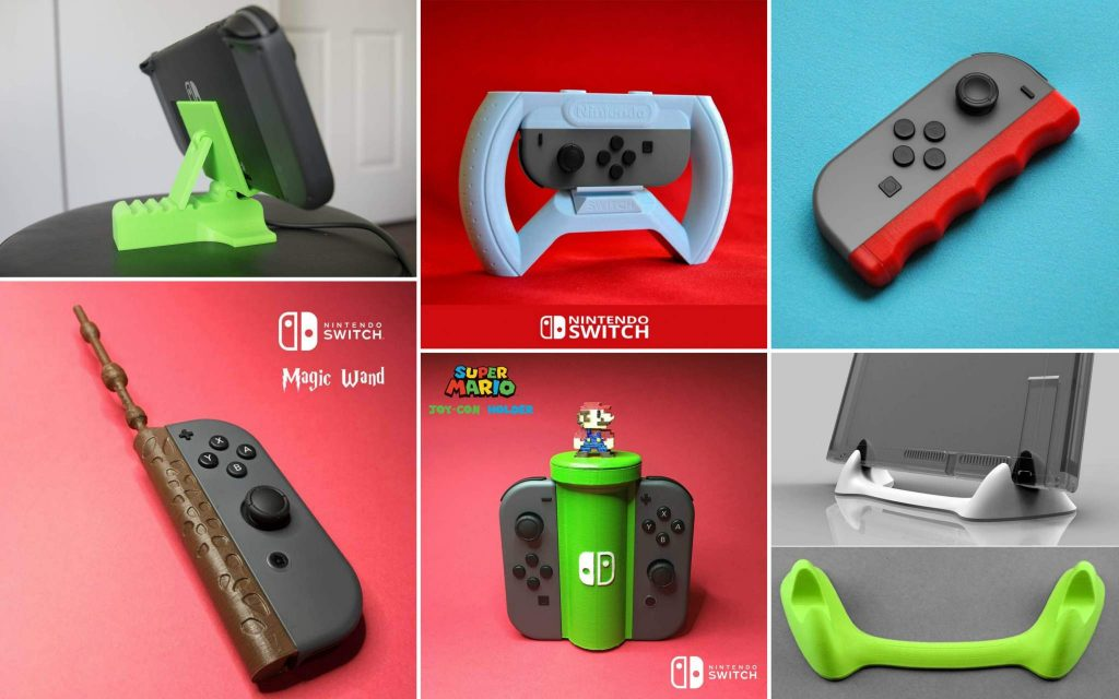 A selection of Nintendo Switch related 3D prints from MyMiniFactory.