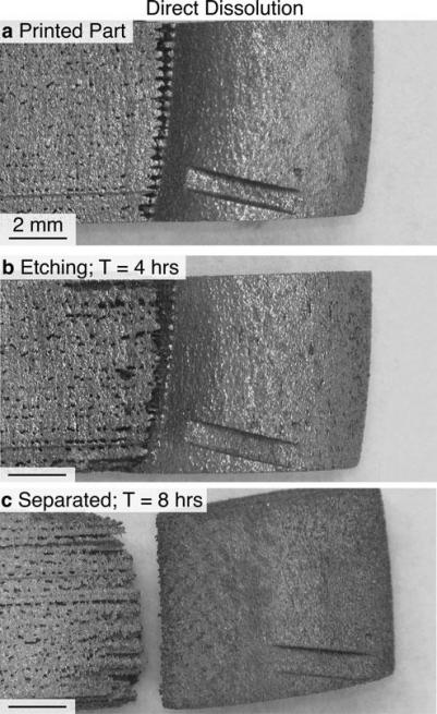 The first method of direct dissolution showing an undesired surface finish. Figures via 3D Printing and Additive Manufacturing journal Volume 4, Number 1, 2017