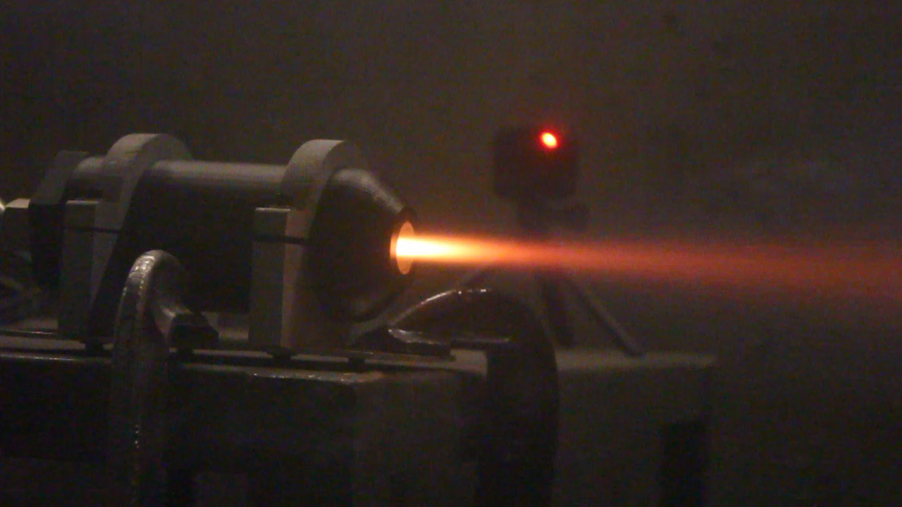 The plastic rocket being fired. Photo via MIT Rocket Team.