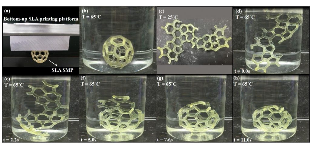 Self-assembly process of a 3D printed Bucky Ball in research from the Singapore Centre for 3D Printing, School of Mechanical & Aerospace Engineering, Nanyang Technological University and the Singapore Institute of Manufacturing Technology. Image via Materials & Design.