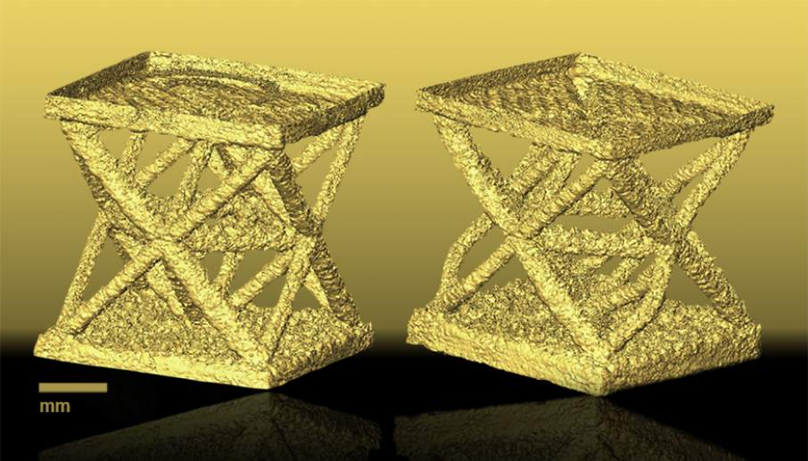 A mathematical model of a 3D printed metal lattice shape before (left) and after (right) stress. Photo via Lawrence Livermore National Laboratory