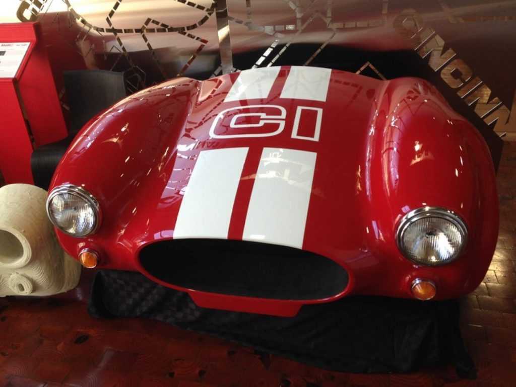 The front of 3D printed Shelby Cobra made using the commercial side of Oak Ridge's BAAM, Cincinnati Inc. Photo via: e-ci.com