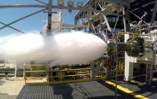 Aerojet Rocketdyne testing the AR1 preburner at NASA's Stennis Space Center. Photo via Aerojet Rocketdyne.