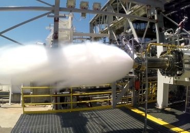 Aerojet Rocketdyne testing the AR1 preburner at NASA's Stennis Space Center. Photo via Aerojet Rocketdyne.