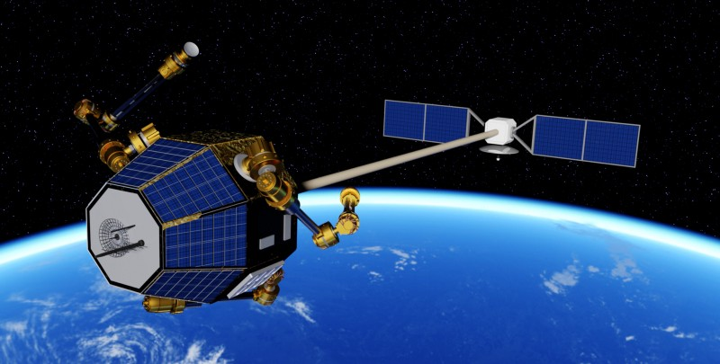 Illustration of Archinaut extending construction on a satellite. Image via Made in Space.
