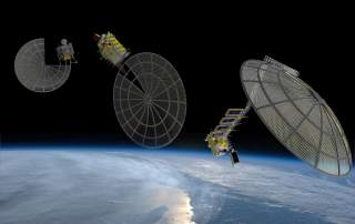 The three stages of Archinaut assembling a satellite platform. Image via Made in Space.