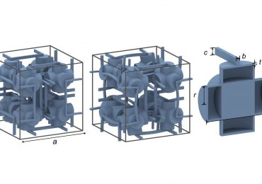 A portion of the proposed metamaterial structure, with cross-section (right) of one hollow capsule. Images via Jingyuan Qu, Muamer Kadic and Martin Wegener