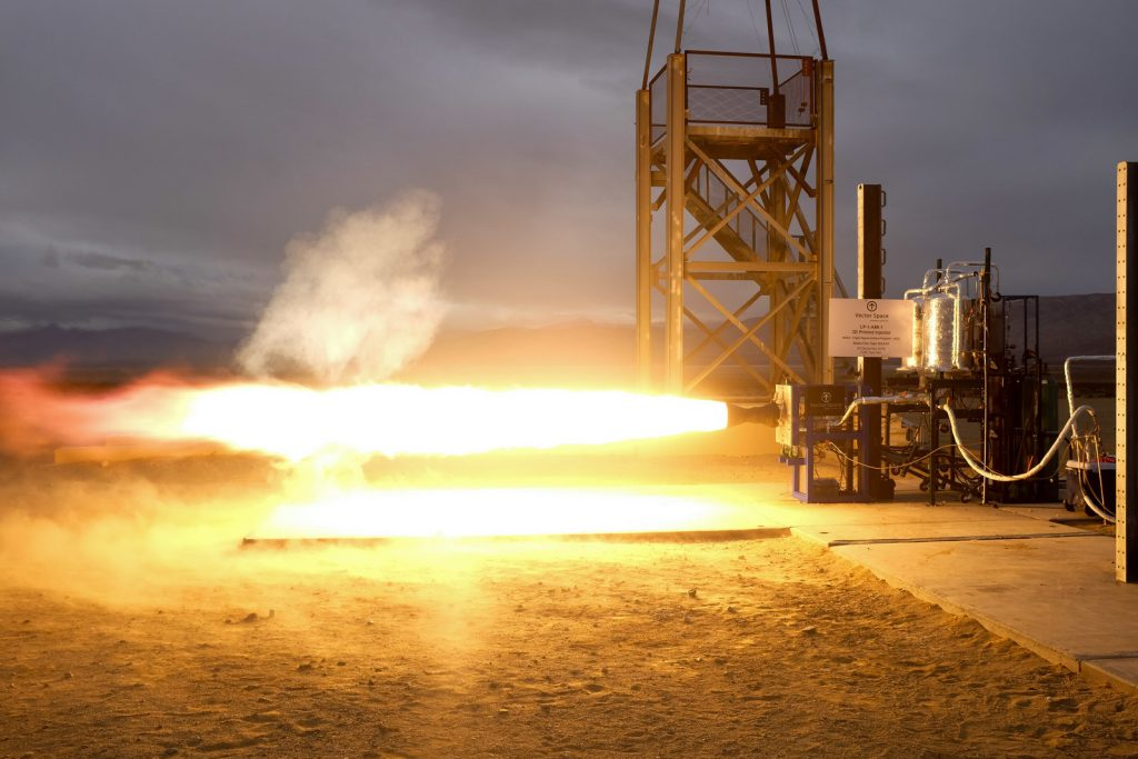 Test of the Vector LOX/Propylene engine with 3D printed fuel injector. Photo via Vector Space Systems
