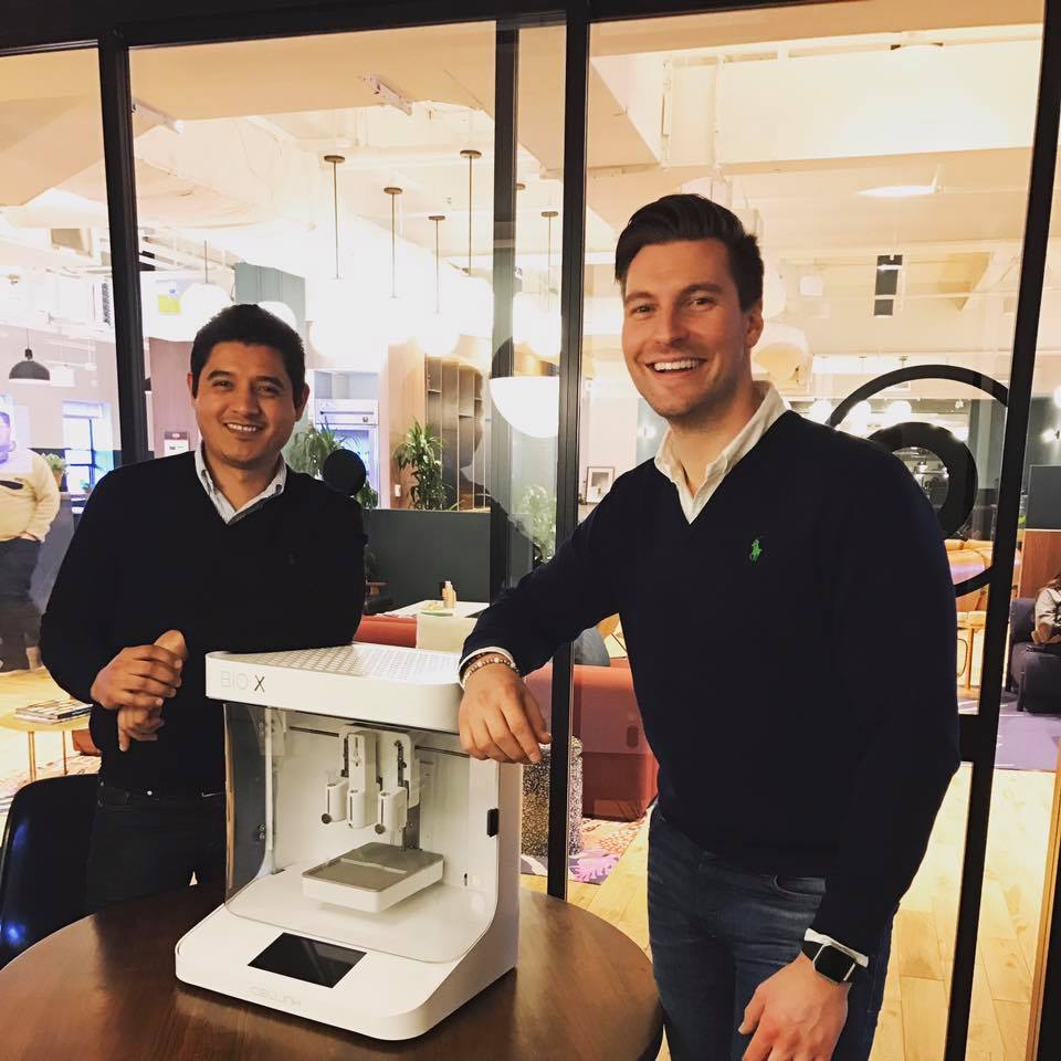 CELLINK employees with the forthcoming BIO X 3D bioprinter at the new Boston office. Photo via cellinkeu on Facebook