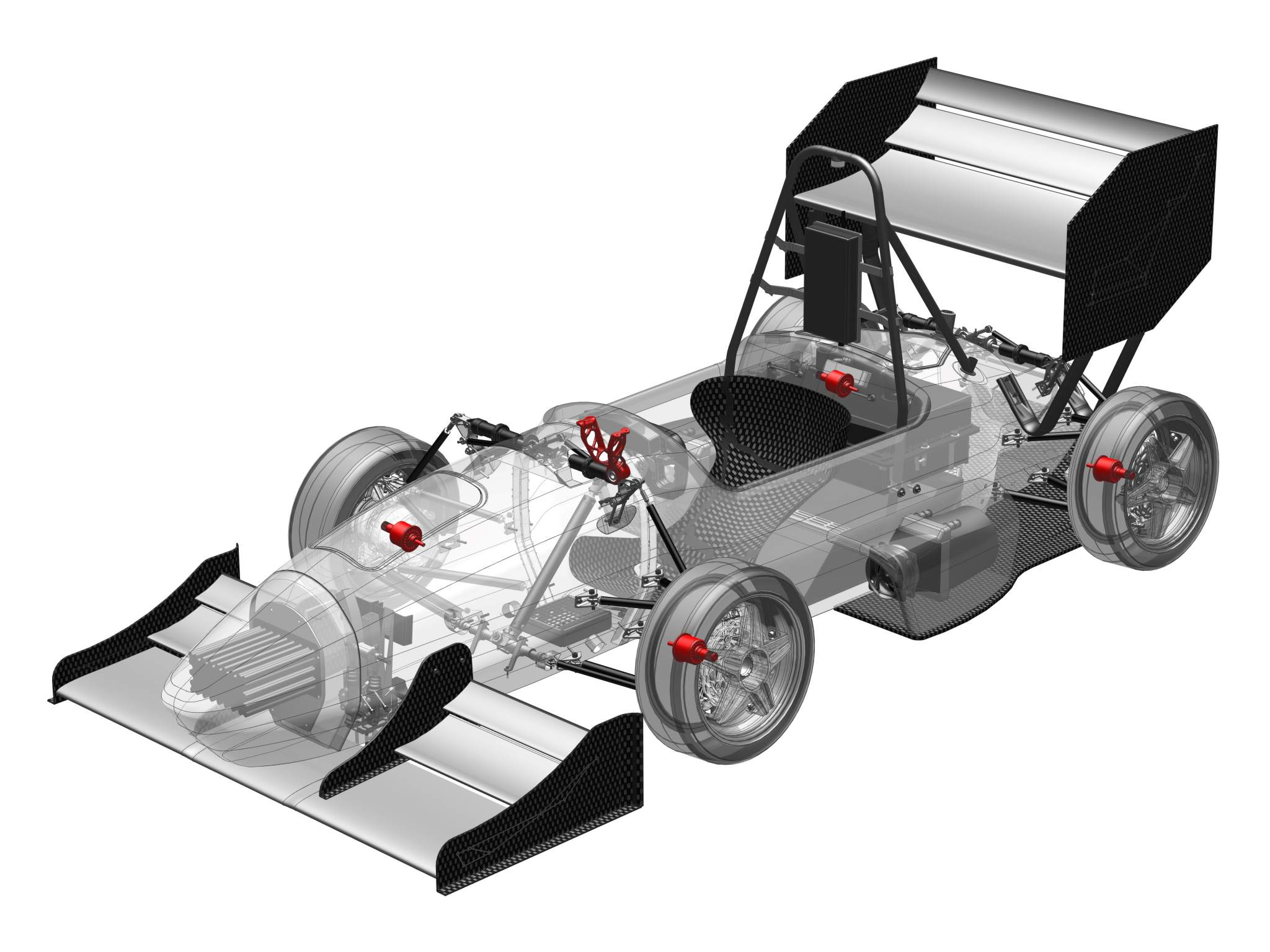 The five 3D printed components marked in red of the TU Darmstadt Formula Student car. Image via Heraeus.