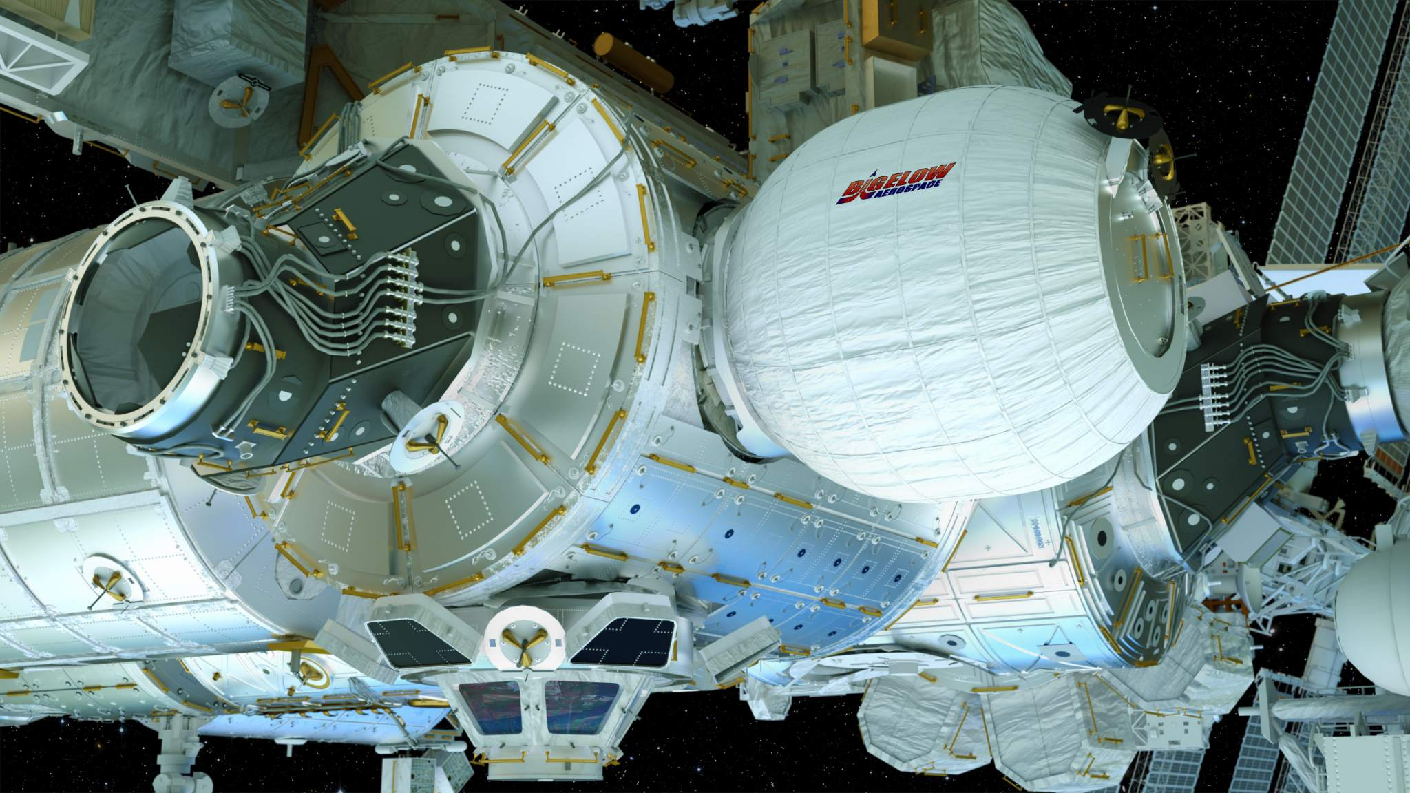 Artist's conception of the BEAM attached to the ISS. Image via Bigelow Aerospace.