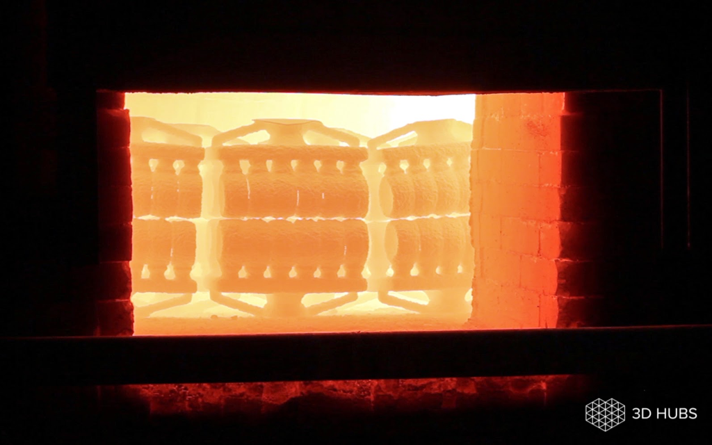 The metal parts cast in a furnace. Image via 3D Hubs.