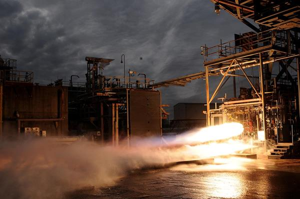 The full-size Bantam rocket engine tested at NASA Marshall Space Flight Center. Photo via Aerojet Rocketdyne.
