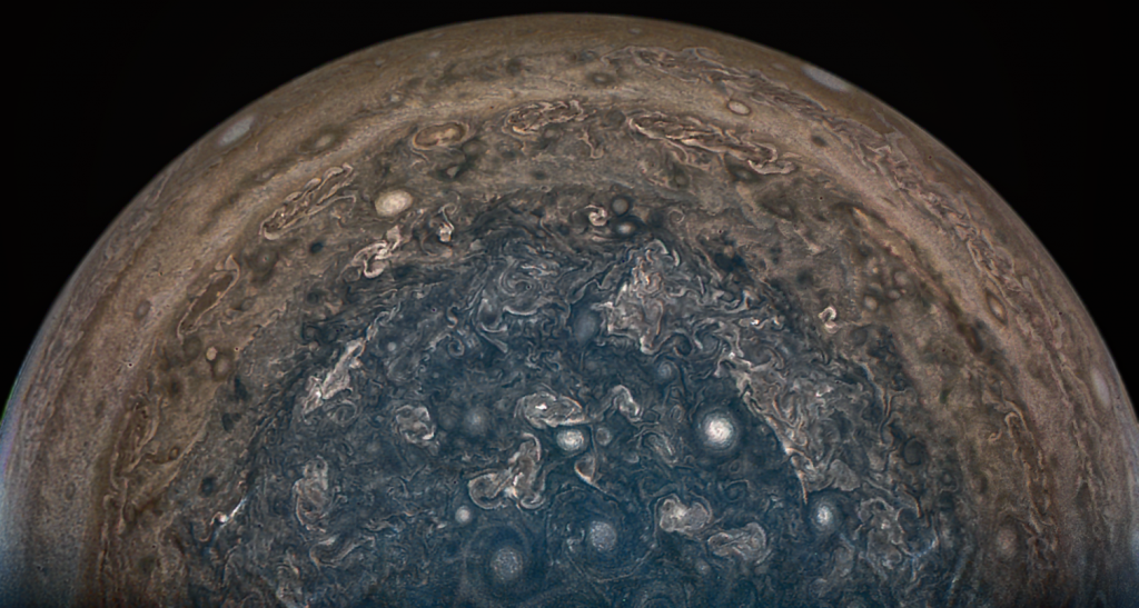 A photo taken by the Juno Spaceprobe taken on February 2, 2017 as the probe flew directly over Jupiter's south pole. Photo via NASA.