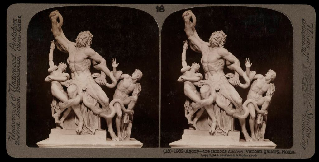 A stereograph from circa 1900 showing the Laocoon from the Vatican gallery.