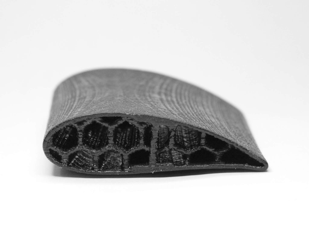 A CBAM 3D printed airfoil. Photo via Impossible Objects.