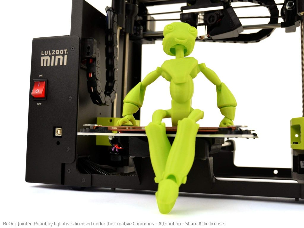 A BeQui Robot 3D printed in parts on a Luluzbot Mini 3D printer. Photo via Lulzbot