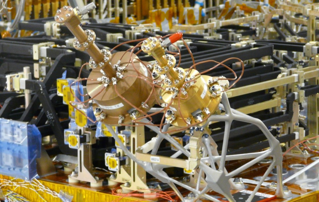 Satellite production process. Photo via Thames Alenia Space