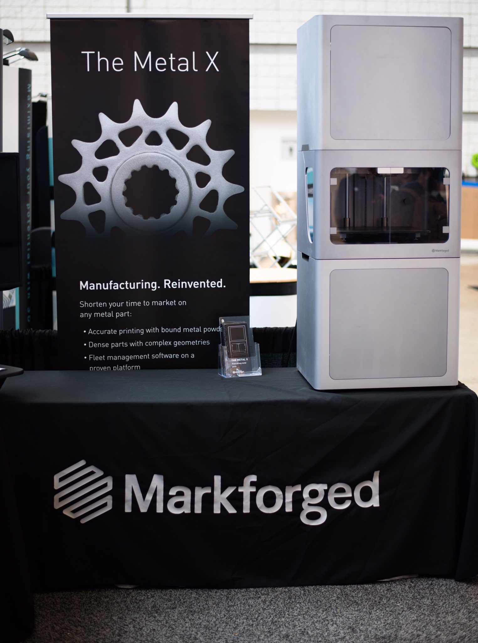 Markforged displays its forthcoming Metal X 3D printer at RAPID + TCT 2017. Photo via Markforged.