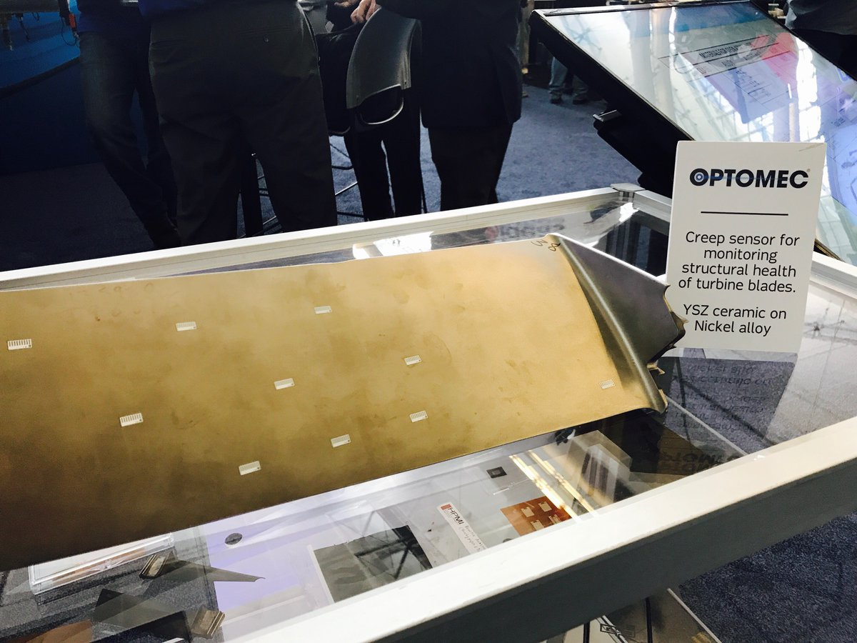 Optomec's turbine blade with printed sensors shown at RAPID + TCT. Photo via Optomec.