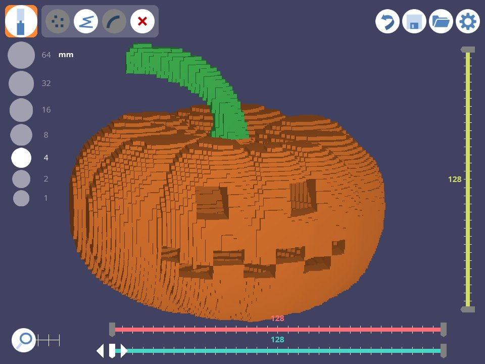A voxelized pumpkin created in 3D Slash. Image via: 3dslash.net