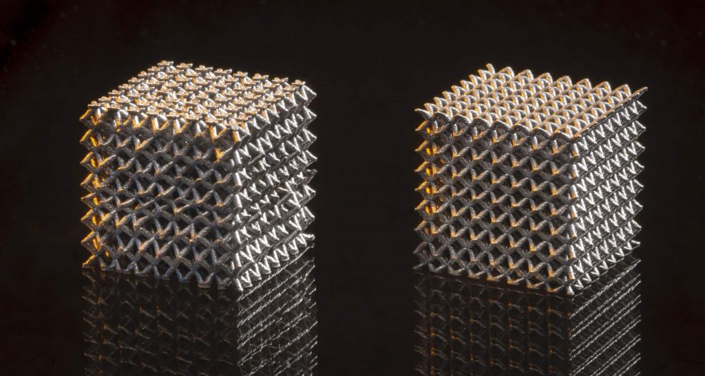 Metal lattices 3D printed using Metalysis titanium powders. Photo via TWI